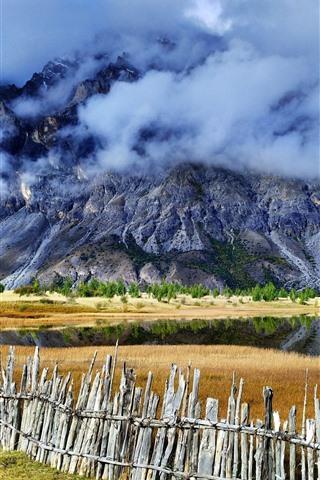 iPhone Wallpaper Sichuan-Tibet Line, Ranwu, mountains, fence, clouds, beautiful landscape