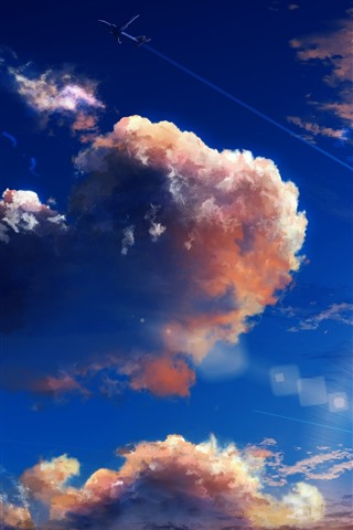 iPhone Wallpaper Sky, clouds, plane, art picture