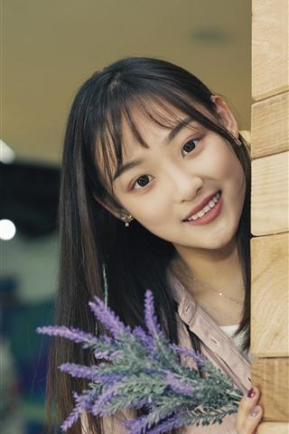 iPhone Wallpaper Smile Asian girl, look, wood wall