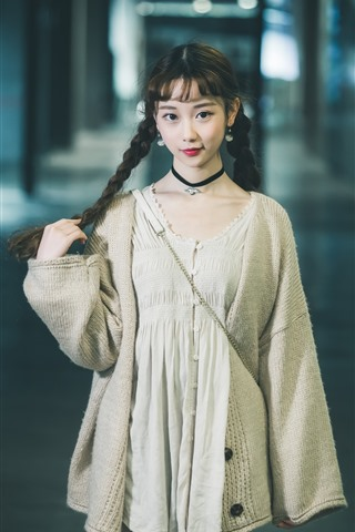 iPhone Wallpaper Smile Chinese girl, look, braids