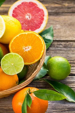 iPhone Wallpaper Some fruit, citrus, oranges, lime, lemon, grapefruit