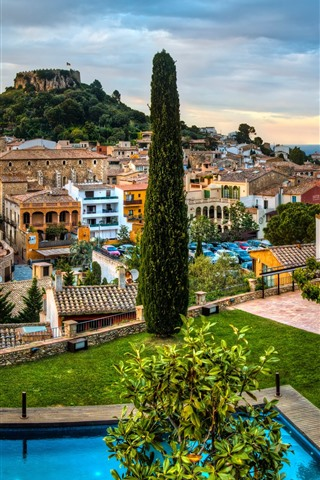 iPhone Wallpaper Spain, Catalonia, city, trees, houses, sea, pool