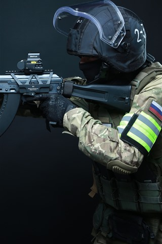 iPhone Wallpaper Special forces, AK-103 assault rifle