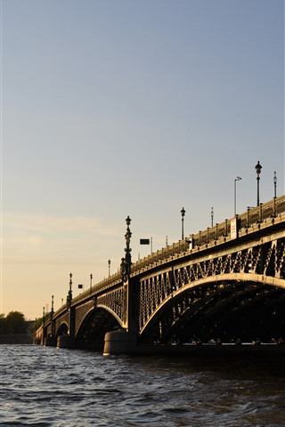 iPhone Wallpaper St. petersburg, bridge, river, city