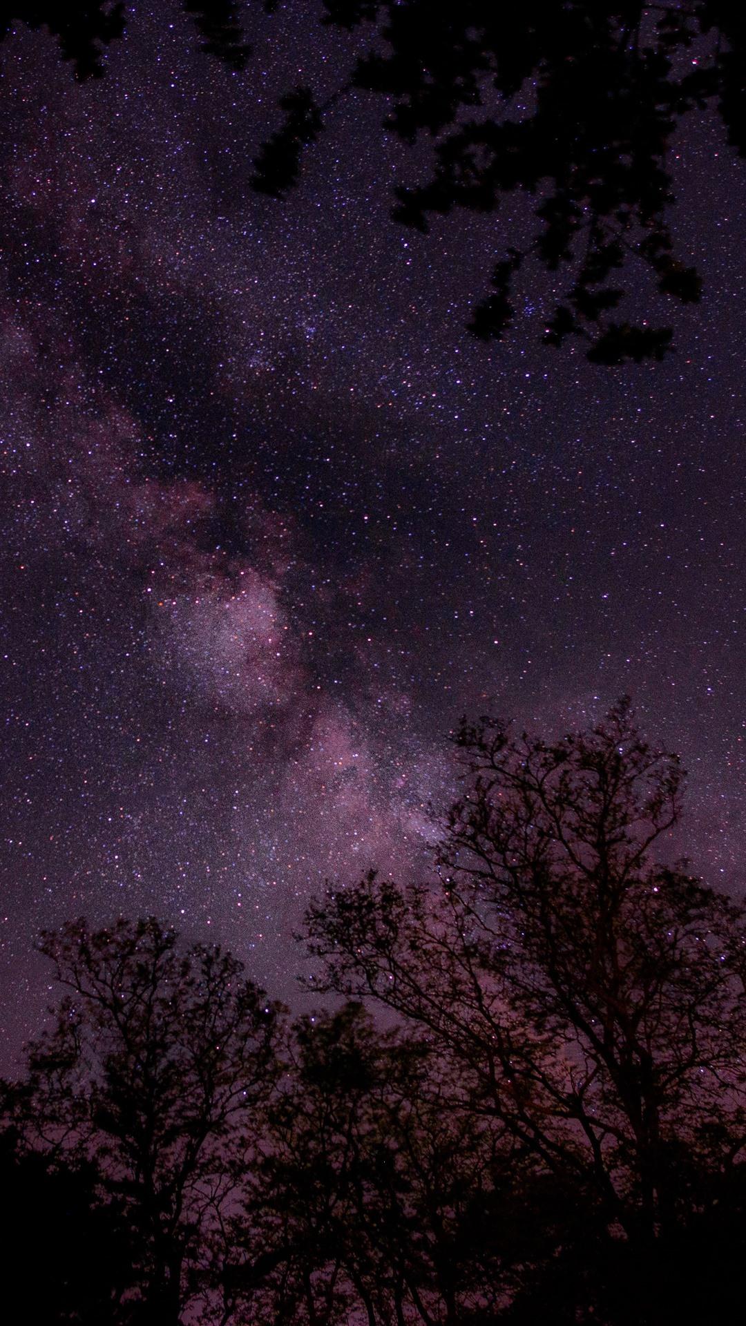 обои на айфон небо со звездами фиолетовое фото, разместим модель