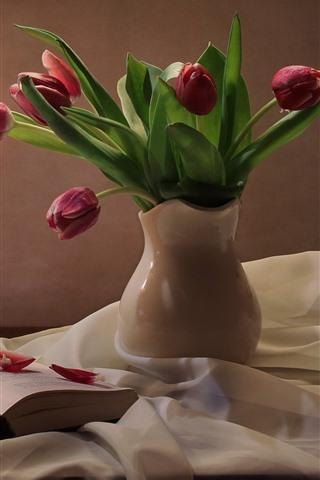 iPhone Wallpaper Still life, pink tulips, lamp, book, silk