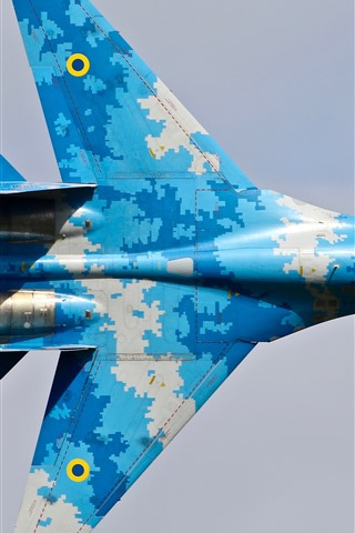 iPhone Wallpaper Su-27 fighter, blue, wings, top view