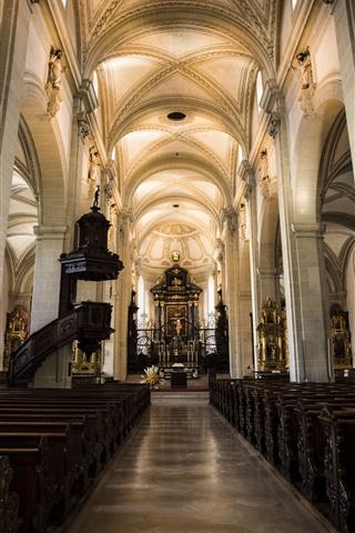 iPhone Wallpaper Switzerland, Lucerne, church, interior, hall