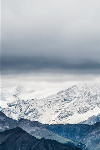Switzerland Pilatus Mountains Snow Clouds 828x1792 Iphone 11 Xr Wallpaper Background Picture Image