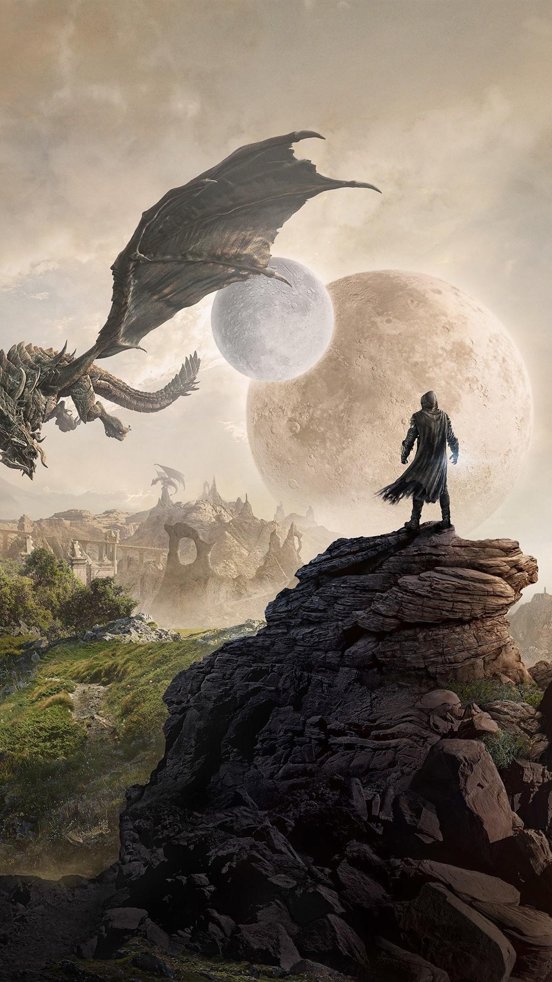 The Elder Scrolls City Moon Planet Dragon 1080x1920