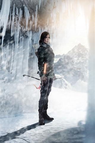 iPhone Wallpaper Tomb Raider, Lara Croft, ice, snow, sunshine