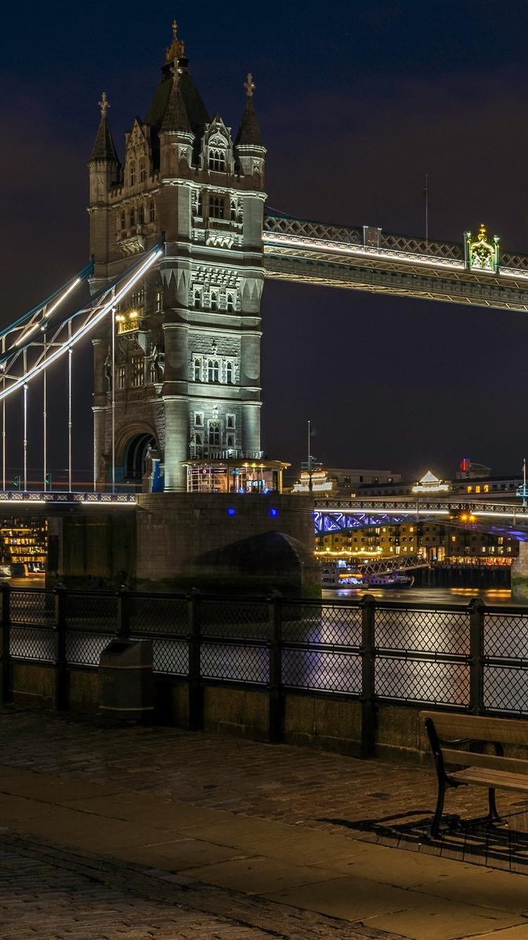 Tower Bridge River Street Lamps Night England London