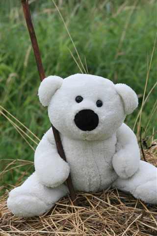 iPhone Wallpaper Toy bear, white teddy