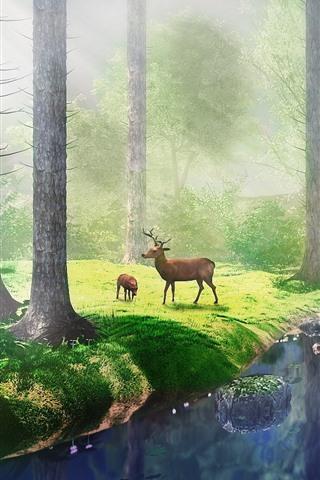 iPhone Wallpaper Trees, grass, river, deer, fog, sun rays