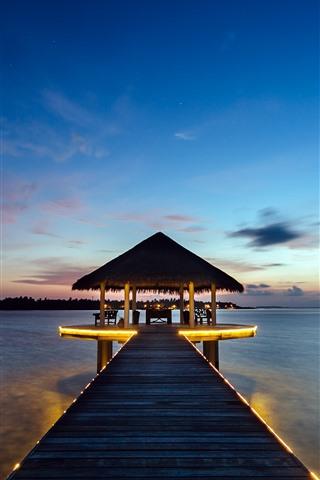 iPhone Wallpaper Tropical, resort, gazebo, pier, sea, night