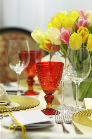 iPhone Wallpaper Tulips, table, glass cups, fork