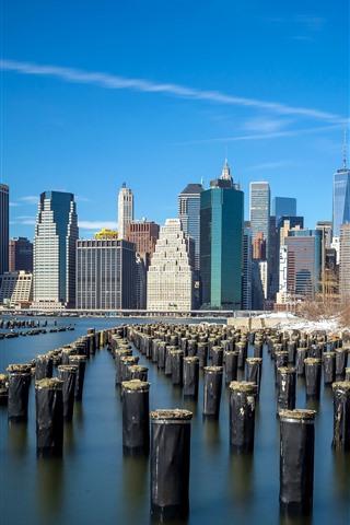 iPhone Wallpaper USA, New York, bay, skyscrapers, blue sky, city