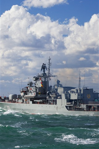 iPhone Wallpaper Ukraine, Navy, ship, sea, clouds