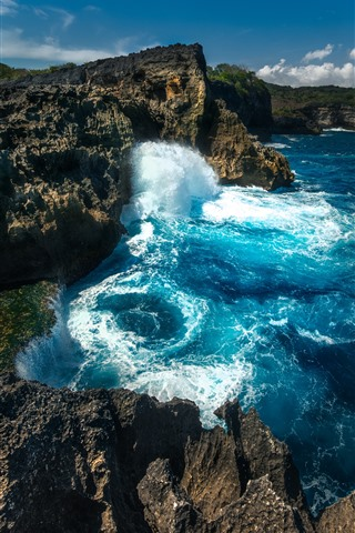 iPhone Wallpaper Water splash, rocks, sea, Nusa Penida