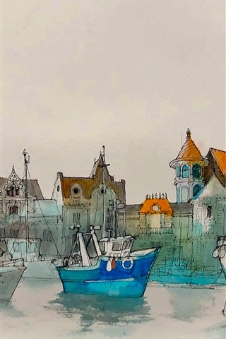 iPhone Wallpaper Watercolor painting, harbour, boats, houses
