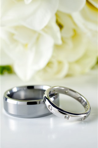 iPhone Wallpaper Wedding rings, flowers background