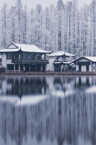 iPhone Wallpaper West Lake, Hangzhou, trees, buildings, snow, winter, China