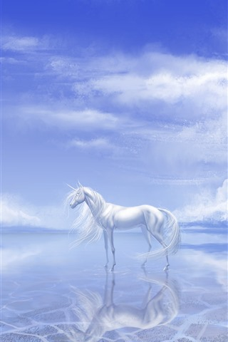 iPhone Wallpaper White unicorn, lake, clouds, art picture