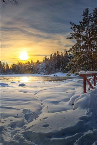 iPhone Wallpaper Winter, thick snow, bridge, lake, trees, sunset