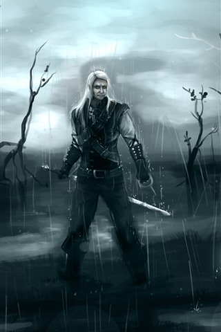 iPhone Wallpaper Witcher, rain, swamp, art picture