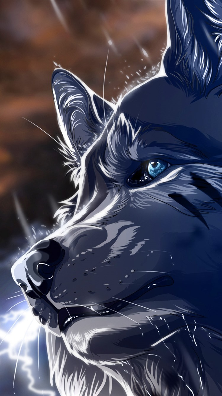Wolf Blue Eyes Lightning Art Picture 750x1334 Iphone 8 7 6 6s Wallpaper Background Picture Image