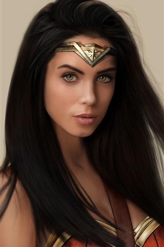 iPhone Wallpaper Wonder Woman, superhero, long hair