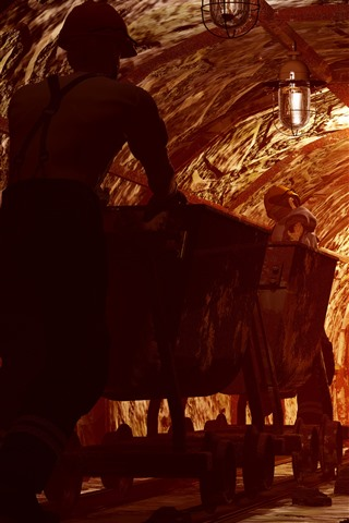 iPhone Wallpaper Worker, tunnel, mining, track