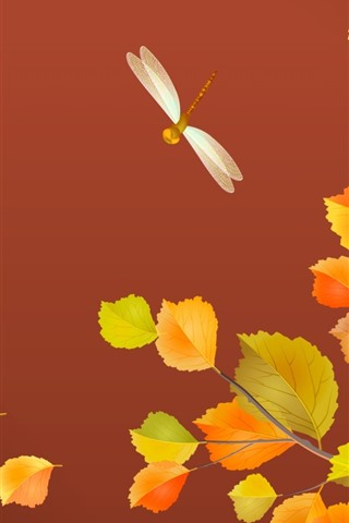 iPhone Wallpaper Yellow leaves, dragonfly, autumn, art picture