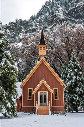 iPhone Wallpaper Yosemite National Park, house, trees, snow, winter, USA