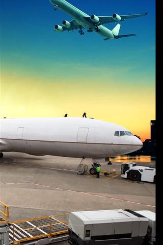 iPhone Wallpaper Aircraft, pier, glare