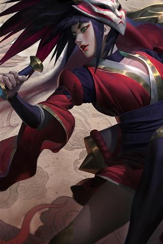 iPhone Papéis de Parede Akali, garota linda, League of Legends