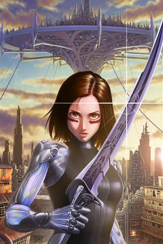 iPhone Wallpaper Alita: Battle Angel, art picture
