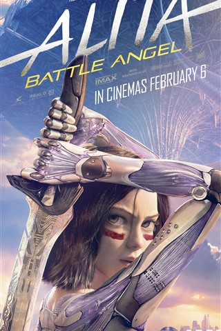 iPhone Wallpaper Alita: Battle Angel, girl, sword