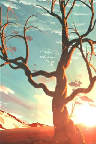 iPhone Wallpaper Art painting, sunshine, tree, mountain, sky, clouds