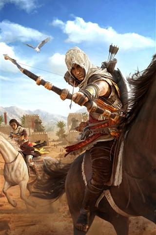 iPhone Wallpaper Assassin's Creed: Origins, horse, bow, desert