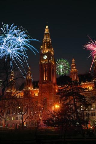 iPhone Papéis de Parede Áustria, Viena, fogos de artifício, noite, cidade