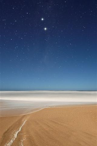 iPhone Wallpaper Beach, foam, sea, starry