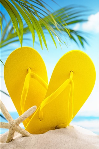 iPhone Wallpaper Beach, sands, yellow slippers, palm leaves, glare