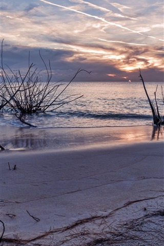 iPhone Wallpaper Beach, sea, water, sky, sunset, nature