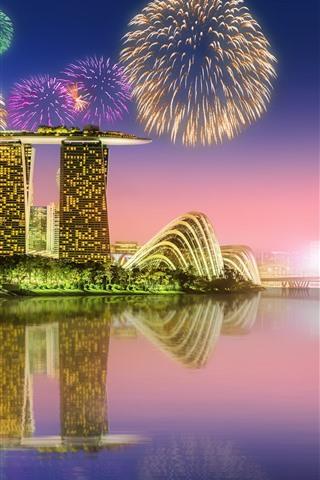iPhone Wallpaper Beautiful Singapore city at night, fireworks, skyscrapers, illumination, river, reflection