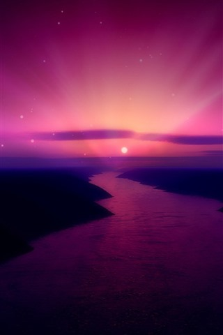 iPhone Wallpaper Beautiful sunrise, purple sky, moon, river, creative picture