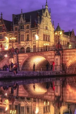 iPhone Wallpaper Belgium, Ghent, bridge, river, lights, houses, night