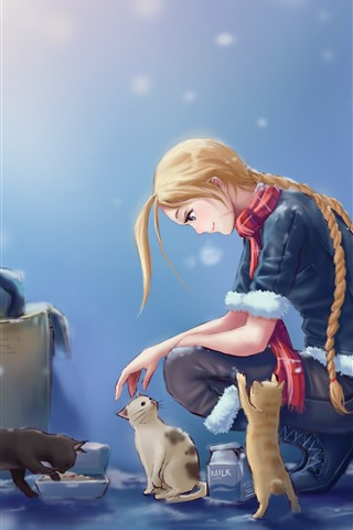 iPhone Wallpaper Blonde girl and cat, snowy, anime