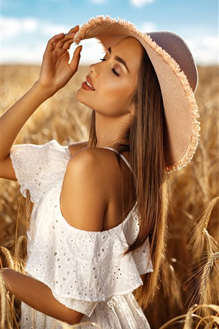 iPhone Wallpaper Blonde girl, hat, wheat field, summer