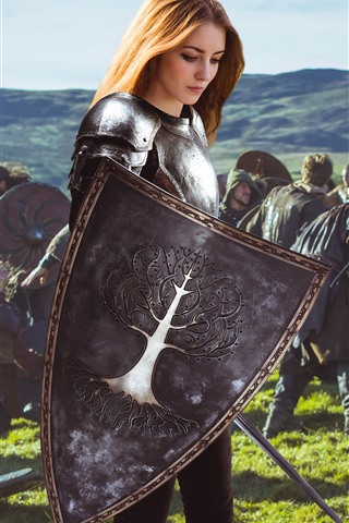 iPhone Wallpaper Blonde girl, warrior, armor, war